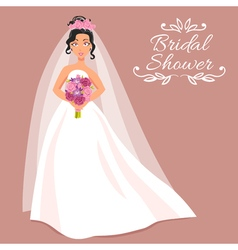 Bride in white dress with bouquet vector