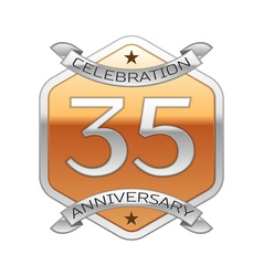 Thirty five years anniversary celebration silver vector image