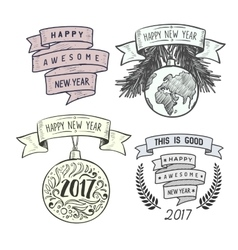 Merry christmas badges design vector
