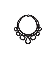 Necklace with gems sketch icon vector