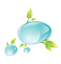 Water Drops With Green Leaves vector image
