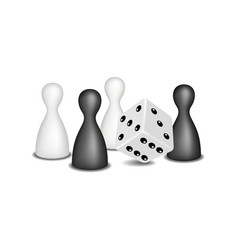 Board game figures and dice in black and white vector