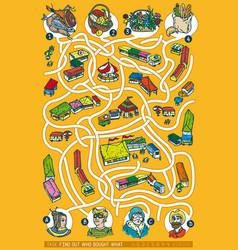 farmers market maze game vector image