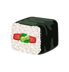 Sushi roll with vegetables inside traditional vector