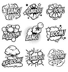 Cartoon explode icons comic book explosion vector
