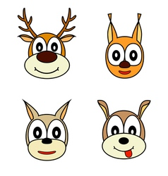 Set of muzzle the animals vector