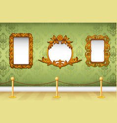 Wooden photo frame on wall vector