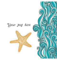 Background waves and starfish maritime pattern vector