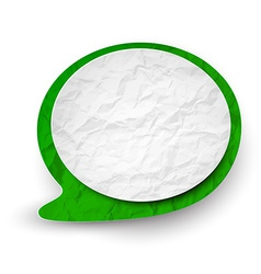 Wrinkled paper white-green speech bubble vector