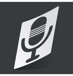 Monochrome microphone sticker vector