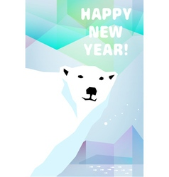 New year card with polar bear vector