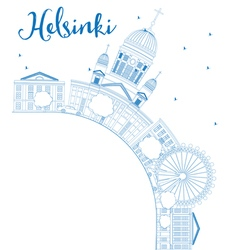 Outline helsinki skyline with blue buildings vector