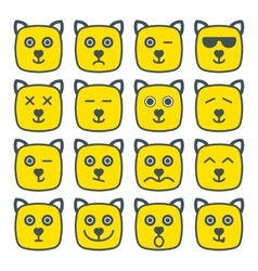 Cat emotional emoji square yellow faces icon vector