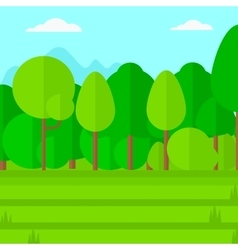 Background of green lawn with trees vector