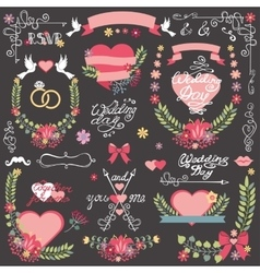 Wedding invitation floral decor toolkit wreath vector
