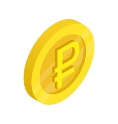 Gold coin with ruble sign icon isometric 3d style vector