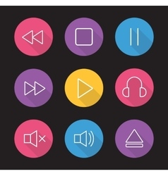 Multimedia flat linear long shadow icons set vector