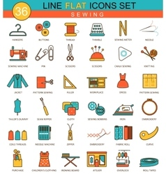 Sewing flat line icon set modern elegant vector
