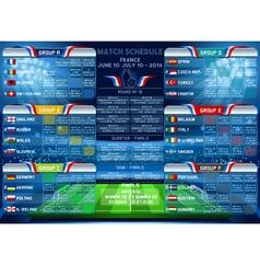 Cup EURO 2016 Finals Schedule vector image
