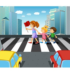 People crossing stree in the city vector image