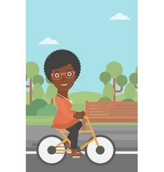 Woman riding bicycle vector