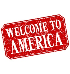 Welcome to america red square grunge stamp vector