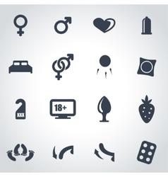 Black sex icon set vector