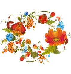 Traditional flower wreath isolated vector