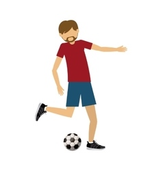 Male athlete practicing football soccer isolated vector
