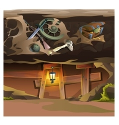 Game concept underground tunnel cartoon location vector