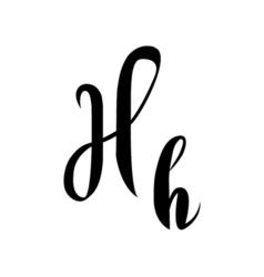 Alphabet letter h lettering calligraphy manuscript vector