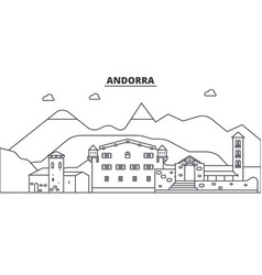 andorra architecture line skyline vector image