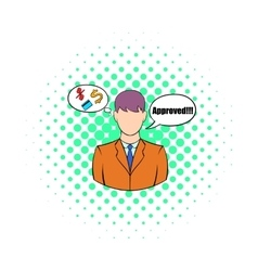 Approval for a loan icon comics style vector