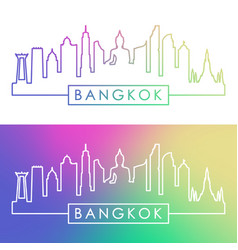 bangkok skyline colorful linear style editable vector image