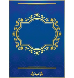 blue elegant card with golden frame vector image