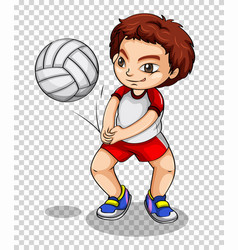 boy playing volleyball on transparent background vector image vector image