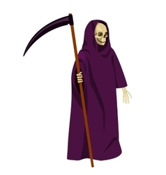Cartoon death with a scythe isolated on white vector