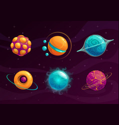 Cartoon fantasy planets set vector