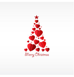 Christmas tree with hearts vector