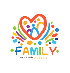 colorful happy family logo with abstract people in vector image