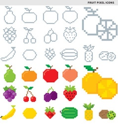 Fruit pixel icons vector