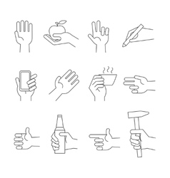 Hand icons with tools and other object vector
