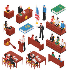 Law and order isometric set vector