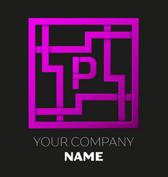 Letter p symbol in colorful square maze vector