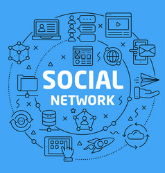 linear social network vector image
