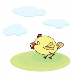 Little yellow chicken with worm vector