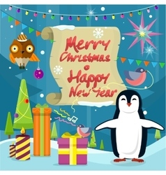 Merry Christmas and Happy New Year Poster Penguins vector image vector image