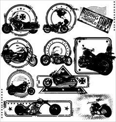 motorbike stamps set vector image vector image