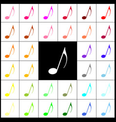 music note sign felt-pen 33 colorful vector image vector image
