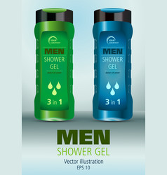 realistic blue and green men shower gel vector image